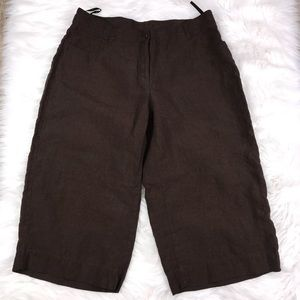 Eileen Fisher Brown Linen Capri Pant Size M